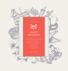 happy birthday - modern drawn square postcard vector image