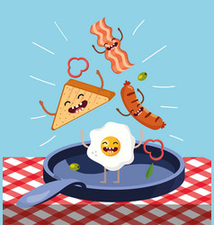 Happy triangle bread with bacon and fried egg in vector