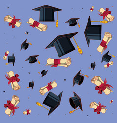 hat graduation with certificate pattern vector image