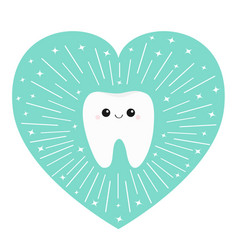 Healthy tooth heart icon smiling face round line vector