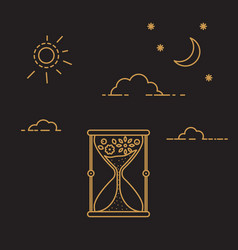 Hourglass icon with clouds and sun vector