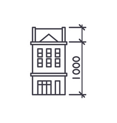 House characteristics line icon concept house vector