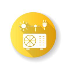 Hybrid air conditioner yellow flat design long vector