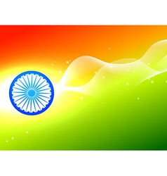 indian flag wheel with wave in tricolor background vector image
