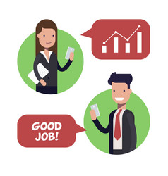 interaction between two employees of businessmen vector image