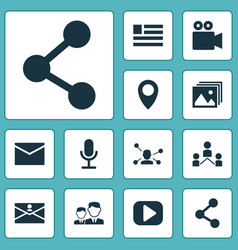 Internet icons set with form camcorder relation vector