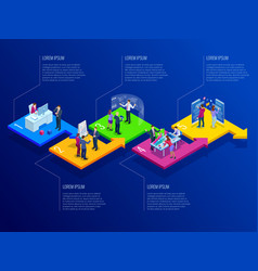 isometric presentation business infographics vector image