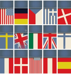 Jeans fabric with flags vector