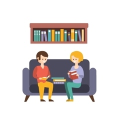 Library Or Bookstore With People Reading Books On vector