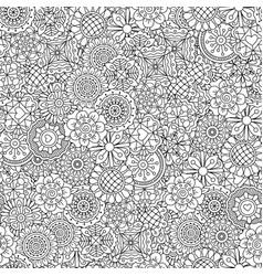 Line ornamental flowers pattern vector