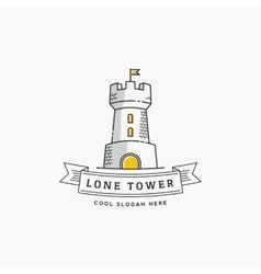 Lone tower abstract sign icon label vector