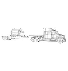 Low bed truck trailer abstract drawing cargo vector