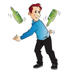 Man juggling bottles vector