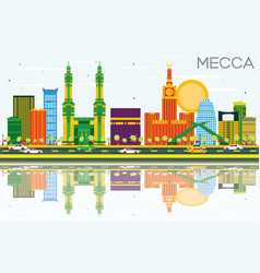 Mecca skyline with color landmarks blue sky vector