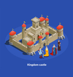 medieval castle isometric cimposition vector image