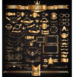 mega set vintage golden labels for your hipster vector image