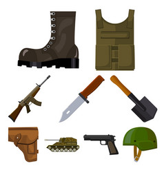Military and army set icons in cartoon style big vector