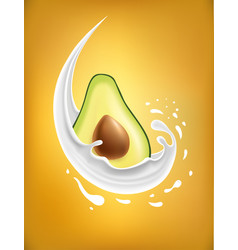 Milk splash with avocado vector