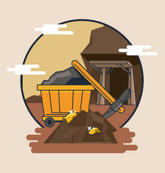 Mining cart and tools vector