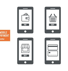 Mobile payment icons vector image