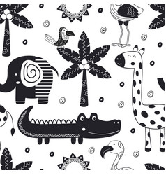 Monochrome seamless pattern with jungle animals vector