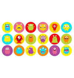 Monster head super big round icon set happy vector