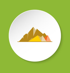 Mountain peaks icon in flat style vector