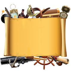Old scroll with pirate accessories vector