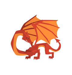 Orange and red dragon mythical and fantastic vector