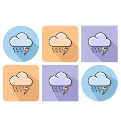 outlined icon of thunderstorm with parallel and vector image