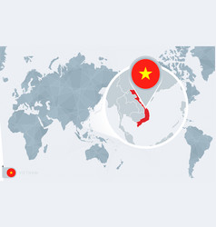 Pacific centered world map with magnified vietnam vector