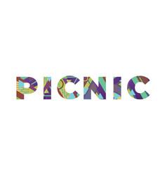 picnic concept retro colorful word art vector image