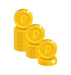 Piles gold rubles isolated cartoon icon vector