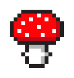 pixel art amanita mushroom cartoon retro game vector image vector image