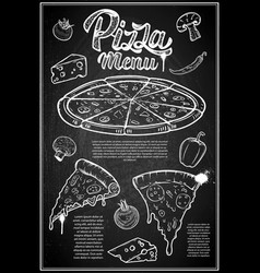 Pizza menu cover layout menu chalkboard with hand vector