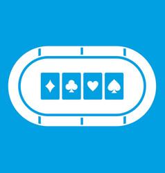 Poker table icon white vector