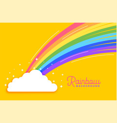 Rainbow with clouds bright background vector