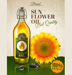 Realistic sunflower oil ad poster vector