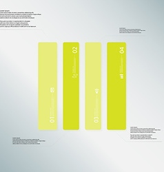 Rectangle template consists of four green parts on vector image