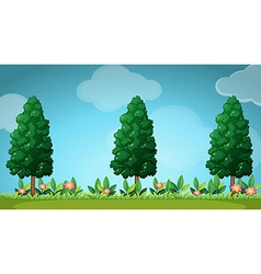 Scene with trees and flowers vector