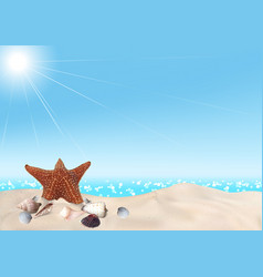 Seashells on seashore background vector