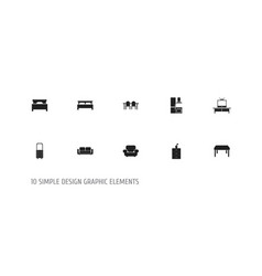 Set of 10 editable interior icons includes vector