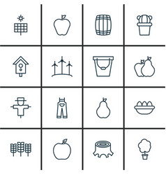 set of 16 farm icons includes wood pot taste vector image