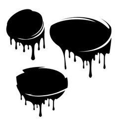 set of 3 black decors with paint drips for your vector image