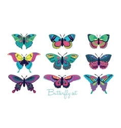 Set of butterflies decorative silhouettes vector