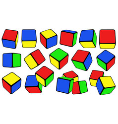Set of different colorful cubes vector