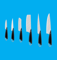 Set of kitchen knives for various products vector