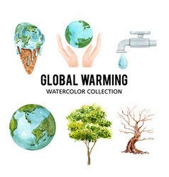 Set watercolor global warming elements vector