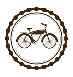 Silhouette brown of classic bicycle in round frame vector
