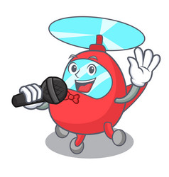Singing helicopter mascot cartoon style vector